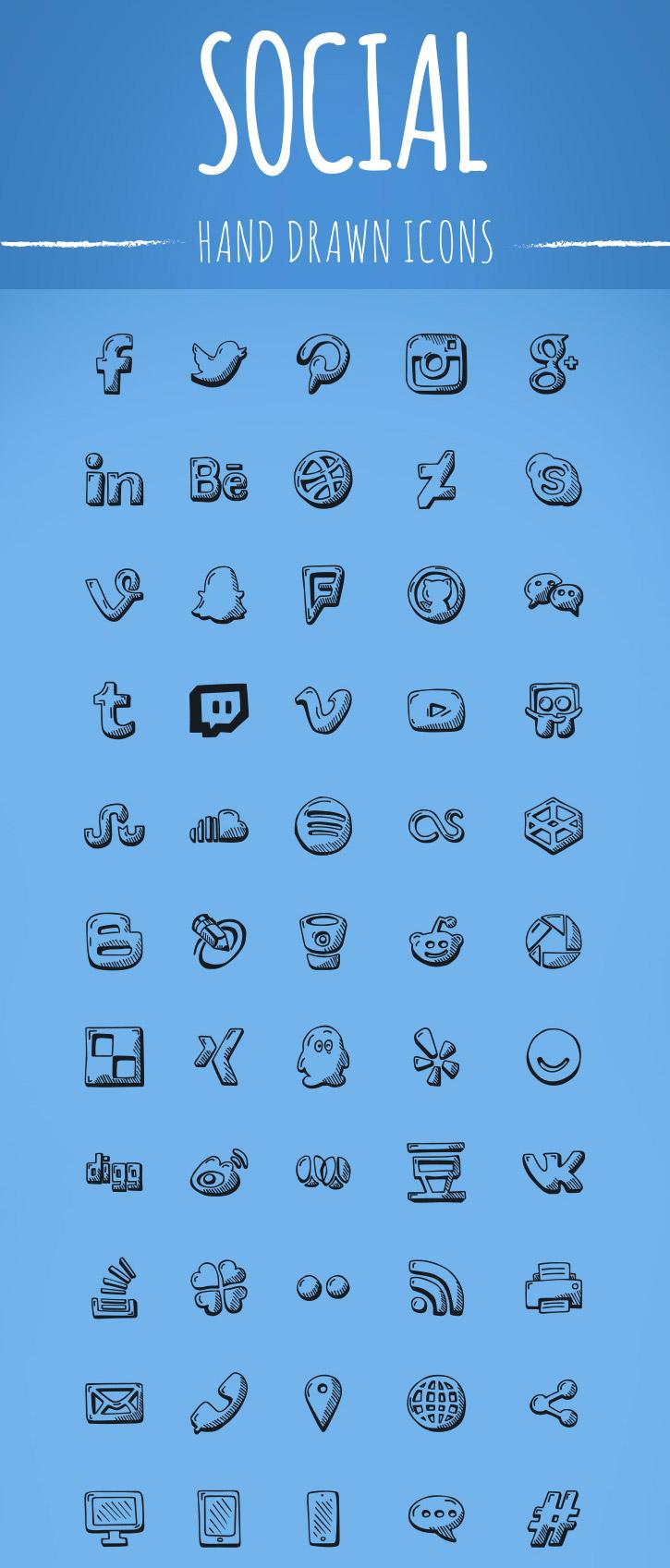 free-hand-drawn-social-icons