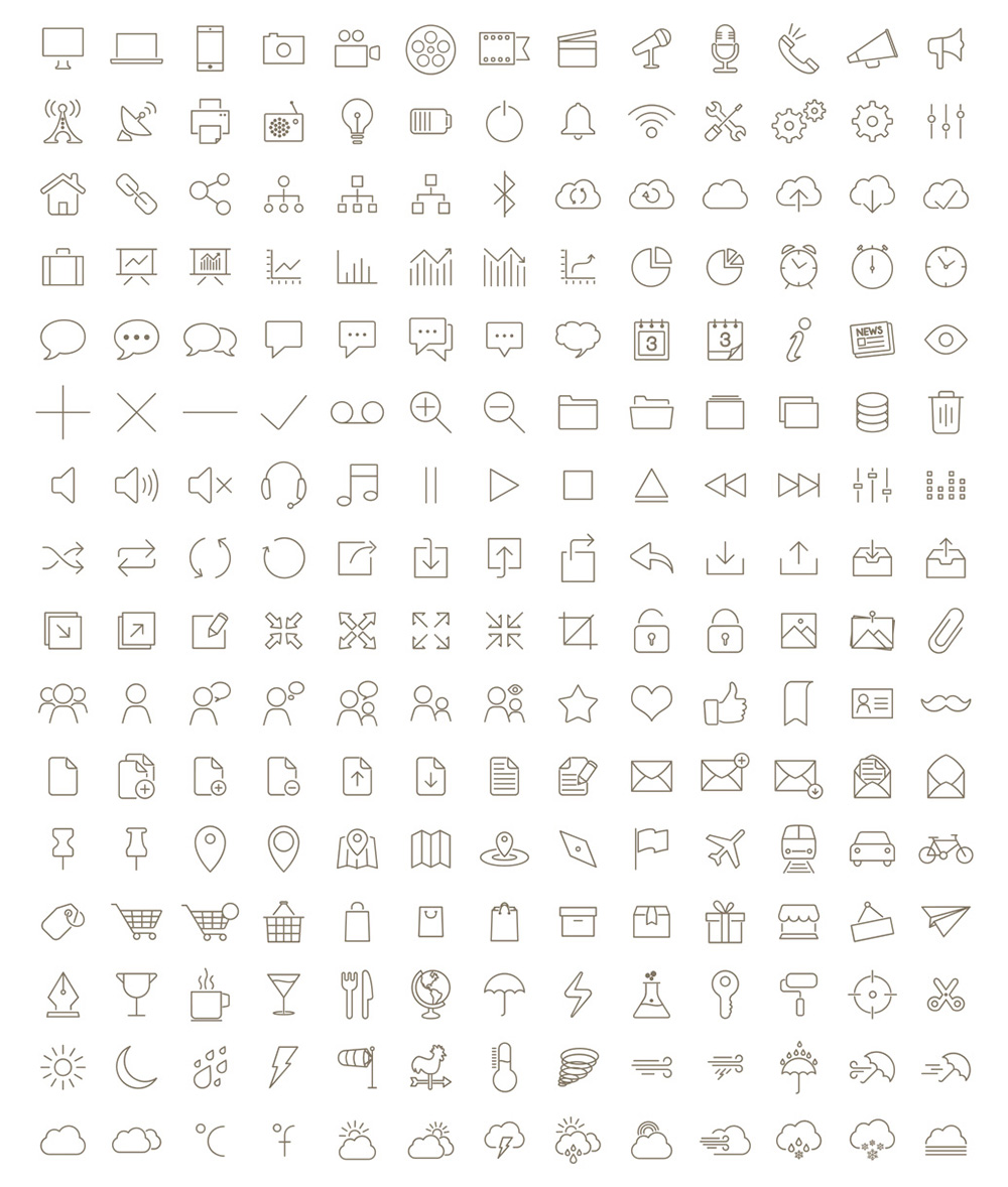 200-free-outline-icons