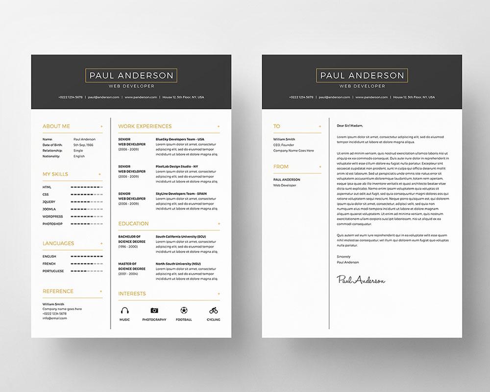 free stylish resume templates psd