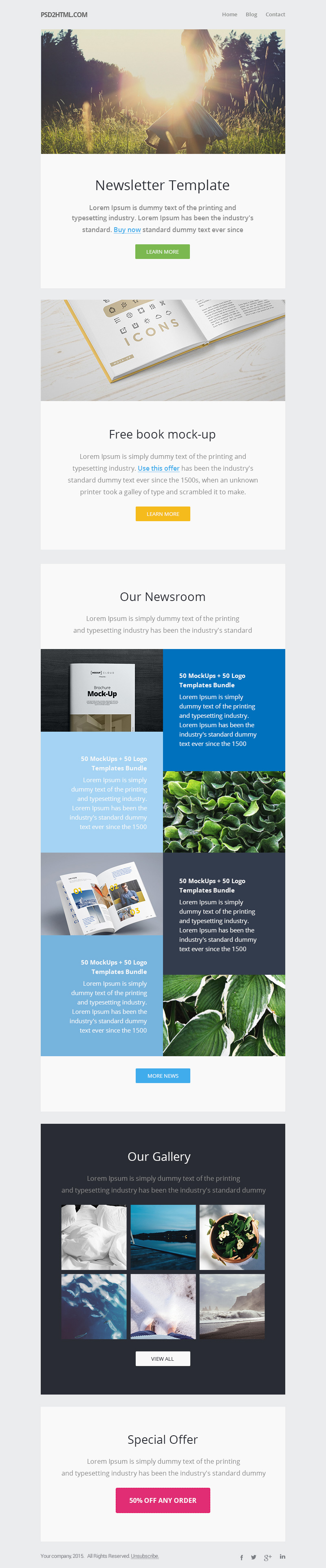 Free newsletter template psd html graphicsfuel for Cool mailchimp templates