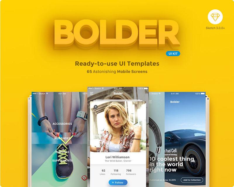 Bolder Multipurpose Mobile UI Kit for Sketch