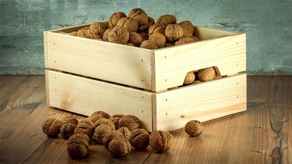 Nuts in Wooden Crate
