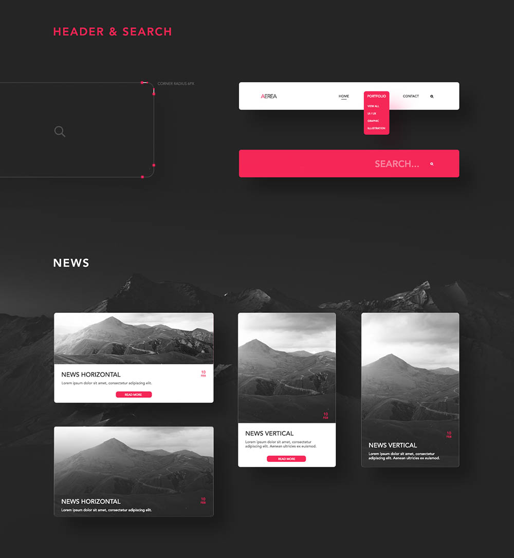 Free UI Kit PSD Headers