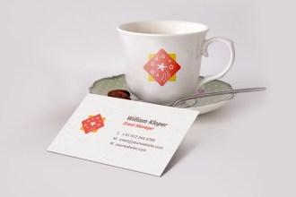 Business Card Coffee Cup Scene Mockup