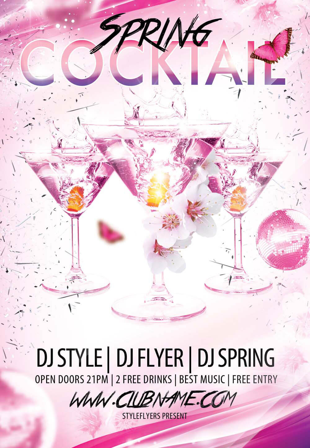 Cocktail Spring PSD Flyer Template