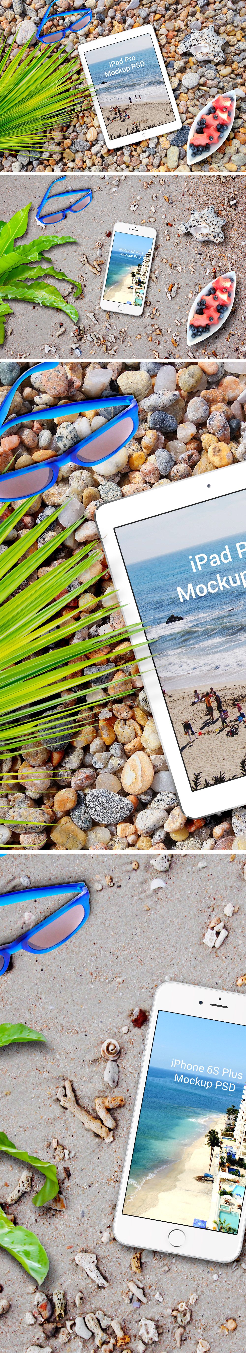 iPhone 6s Plus & iPad Pro Beach Mockup