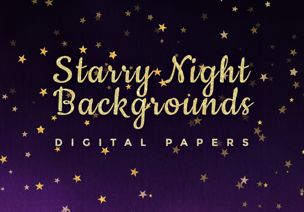 Starry Night Digital Paper Backgrounds