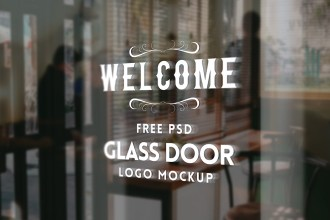 Glass Door Logo Mockup PSD
