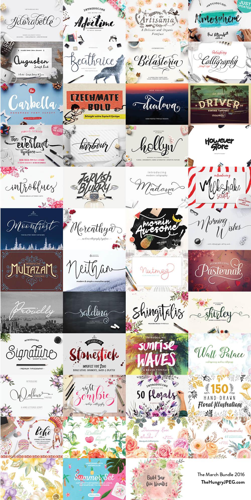 March Fonts & Graphics Bundle