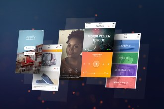 App Screens Display PSD Mockup