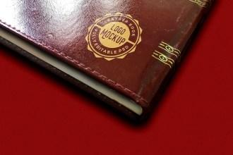 Leather Book Logo Mockup PSD