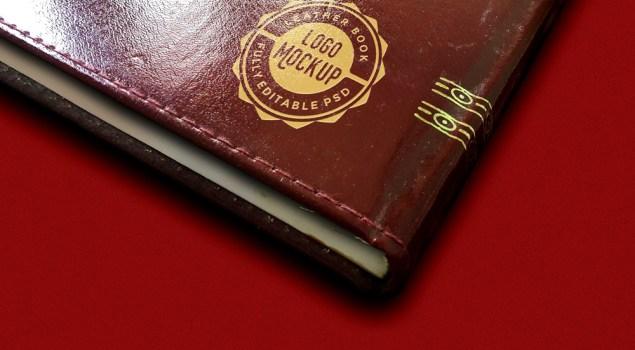 Vintage Leather Book Logo Mockup