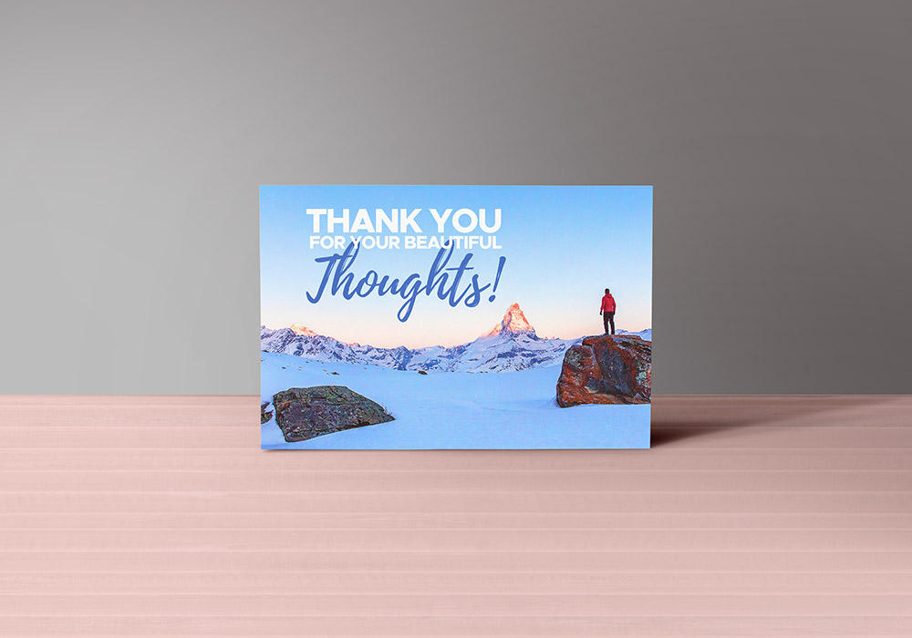 thank you note card size