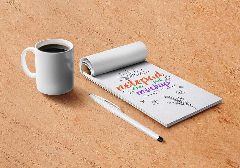 Free Notepad PSD Mockup