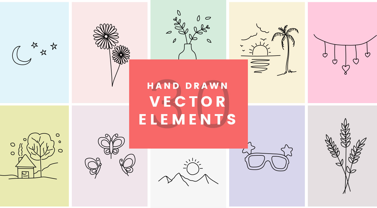 30 Handdrawn Vector Elements