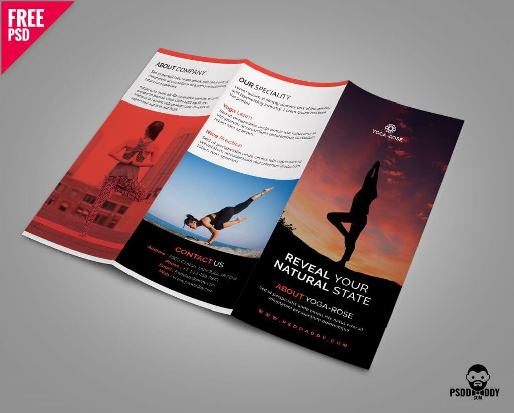 Yoga Tri-fold Brochure Template Free PSD