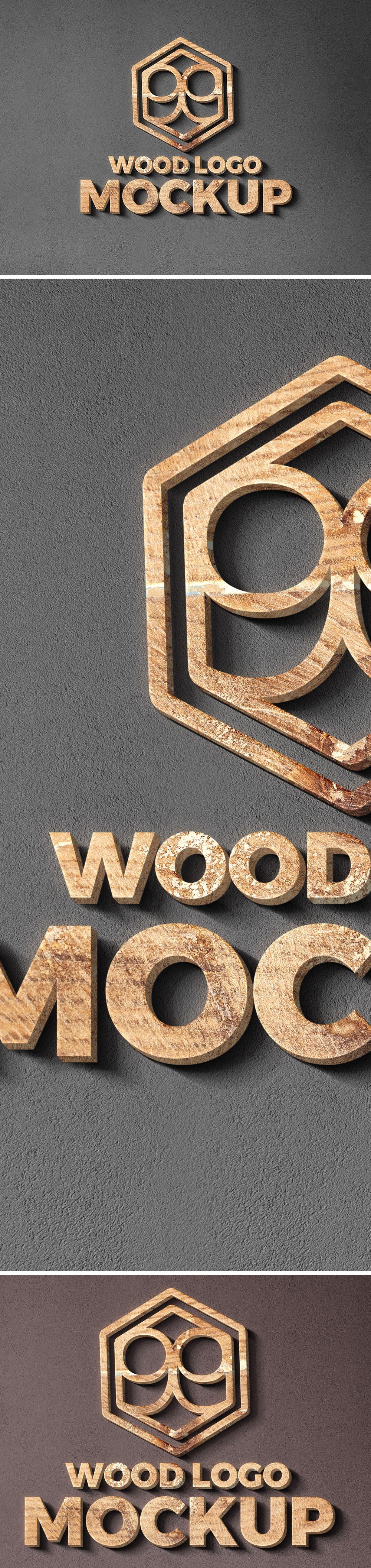 Wood Cut Logo Mockup