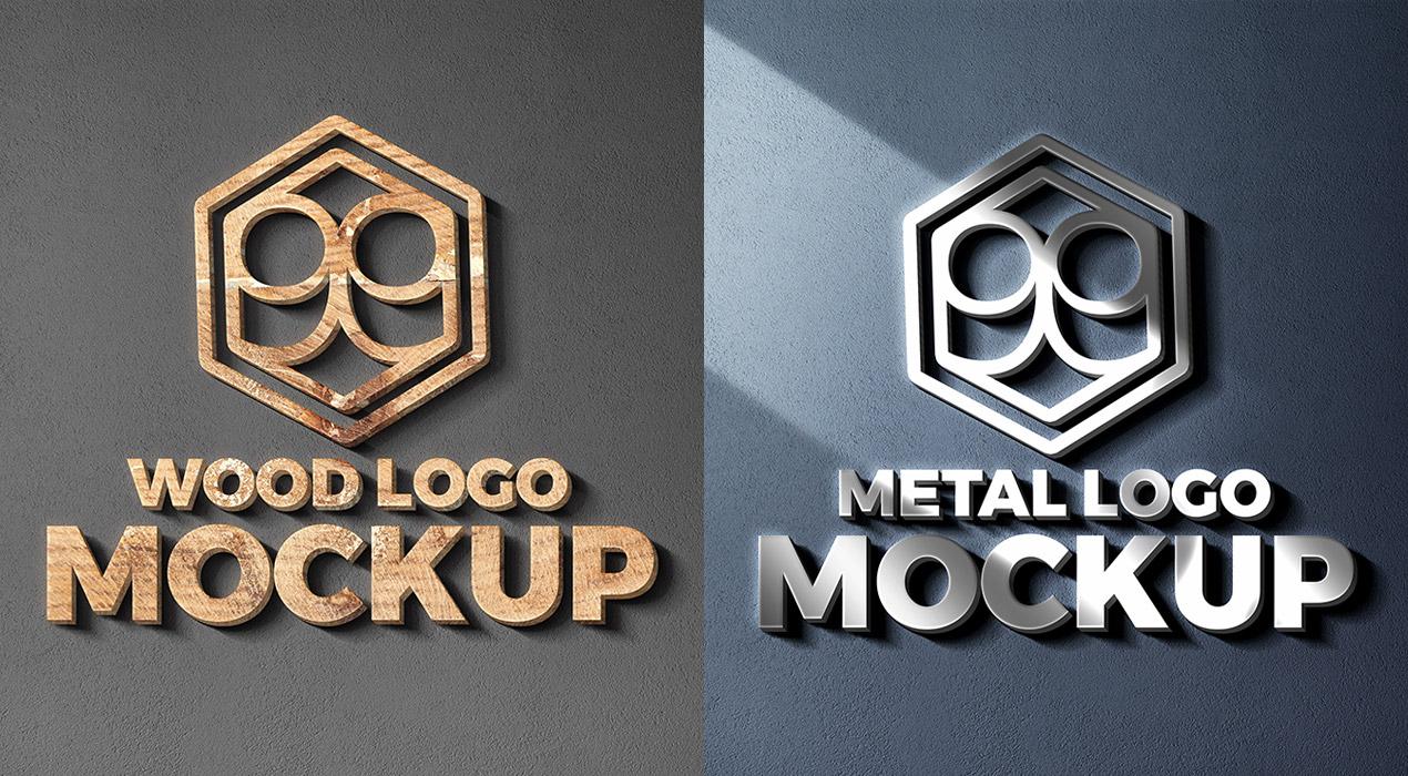 Wood & Metal Cut Logo Mockup PSD