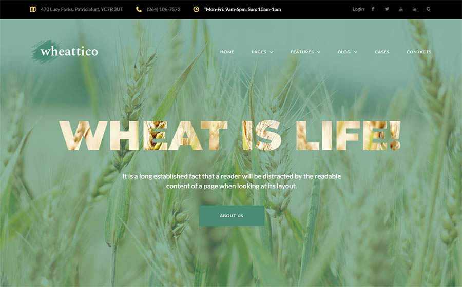 Wheattico - Crop Farm Responsive WordPress Theme
