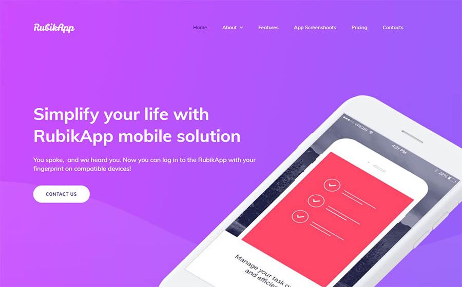 Mobile App Premium Moto CMS 3 Template