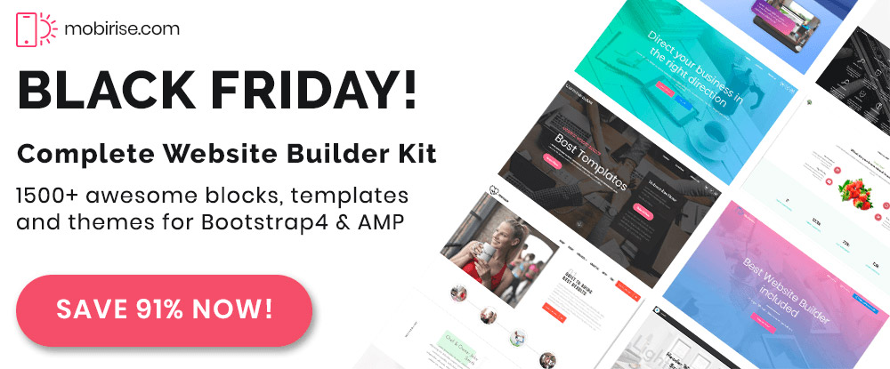 Mobirise Website Builder - Black Friday