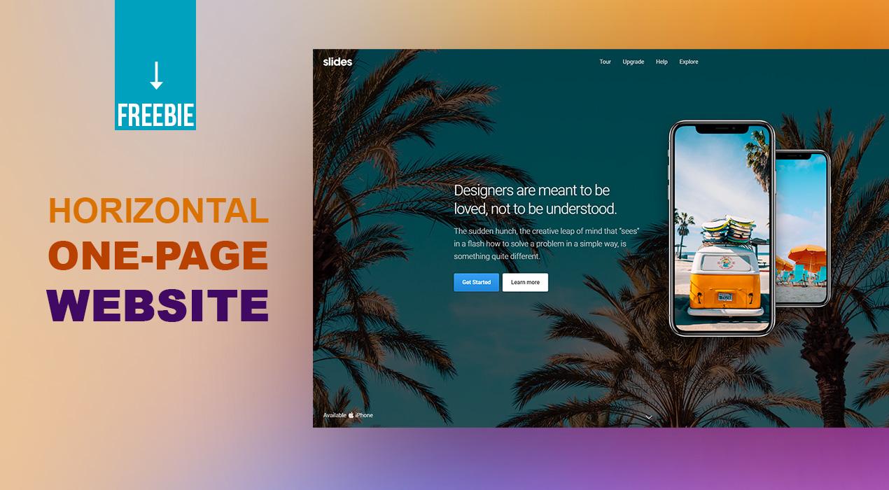 Freebie: Horizontal Scroll One Page Website - GraphicsFuel