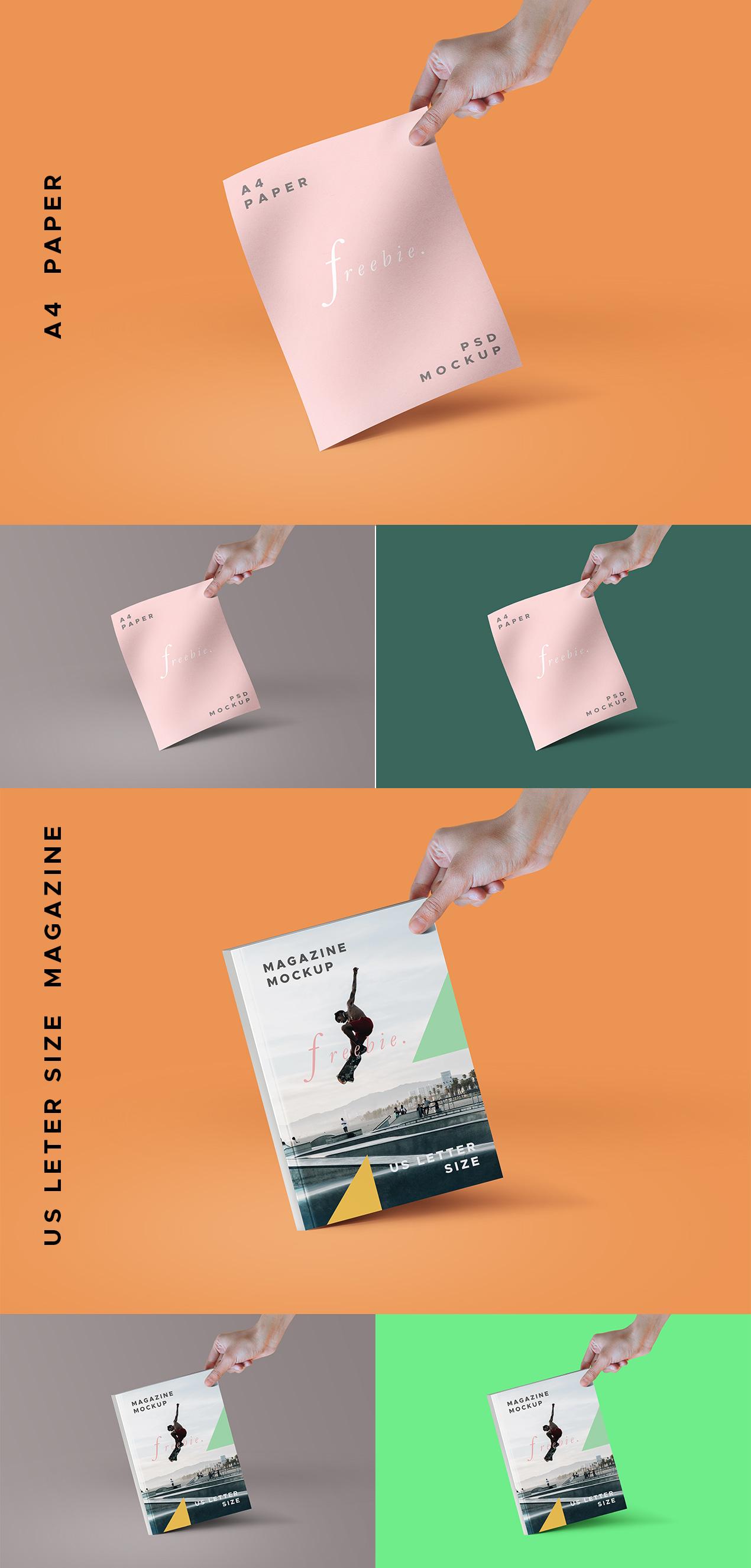 A4 Paper & Magazine PSD Mockukps