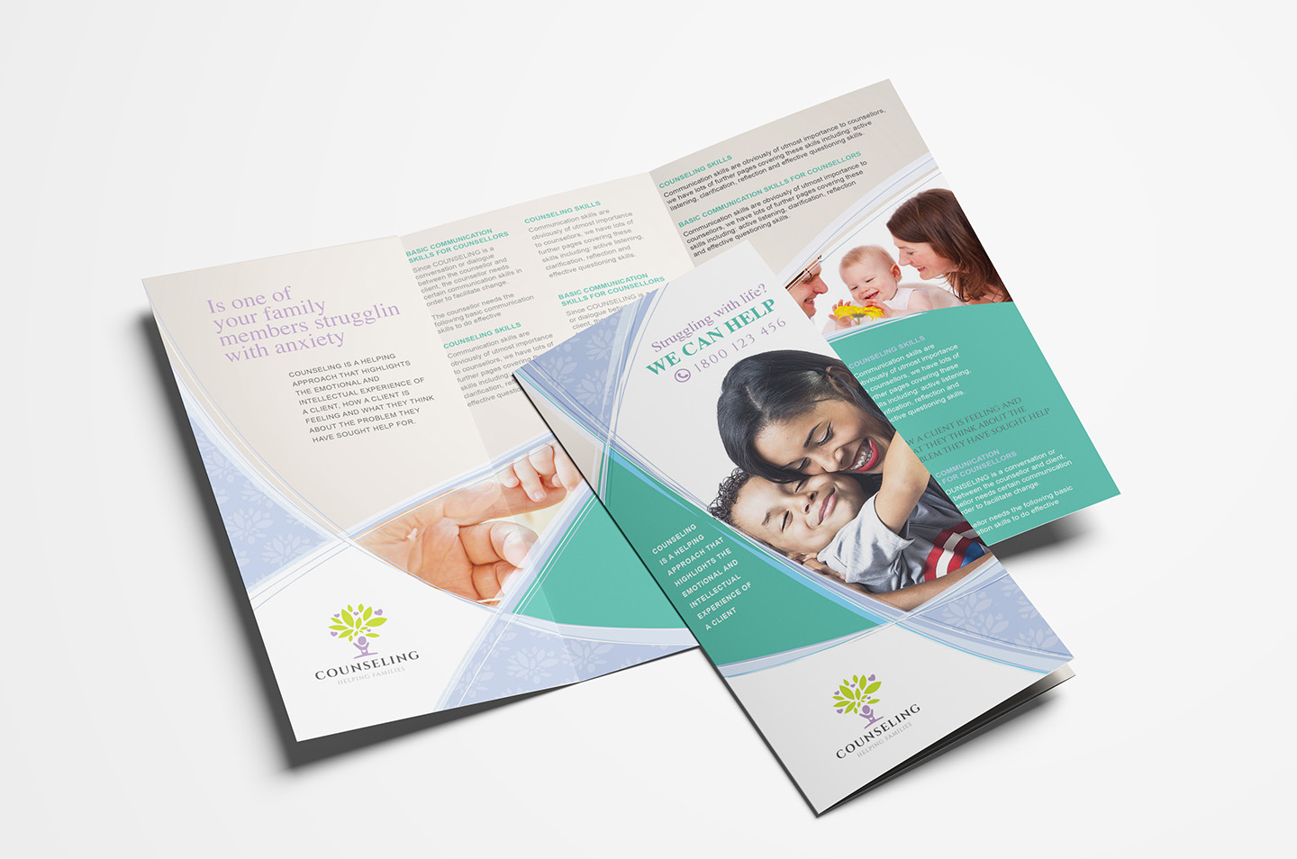 Counselling Service Trifold Brochure Template