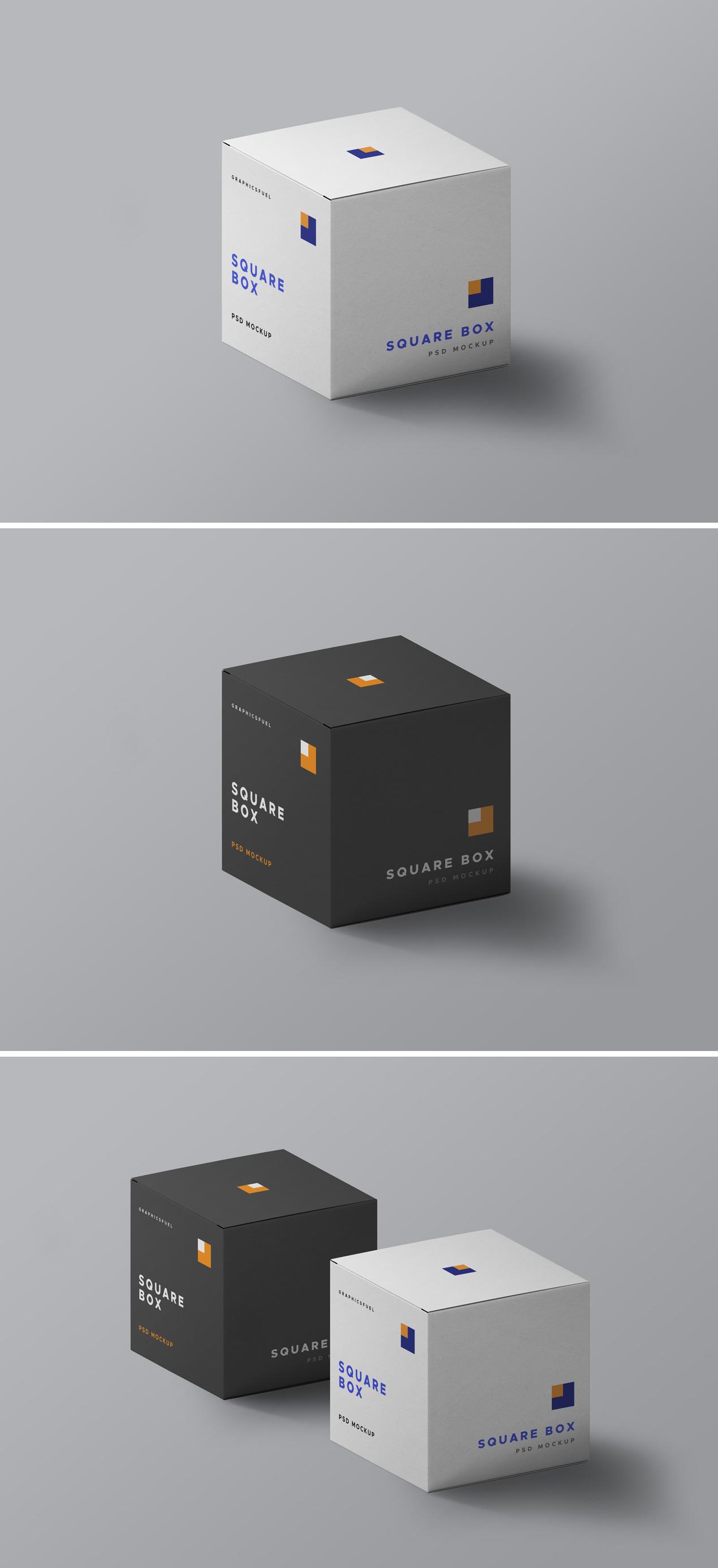 Square Packaging Box Mockups