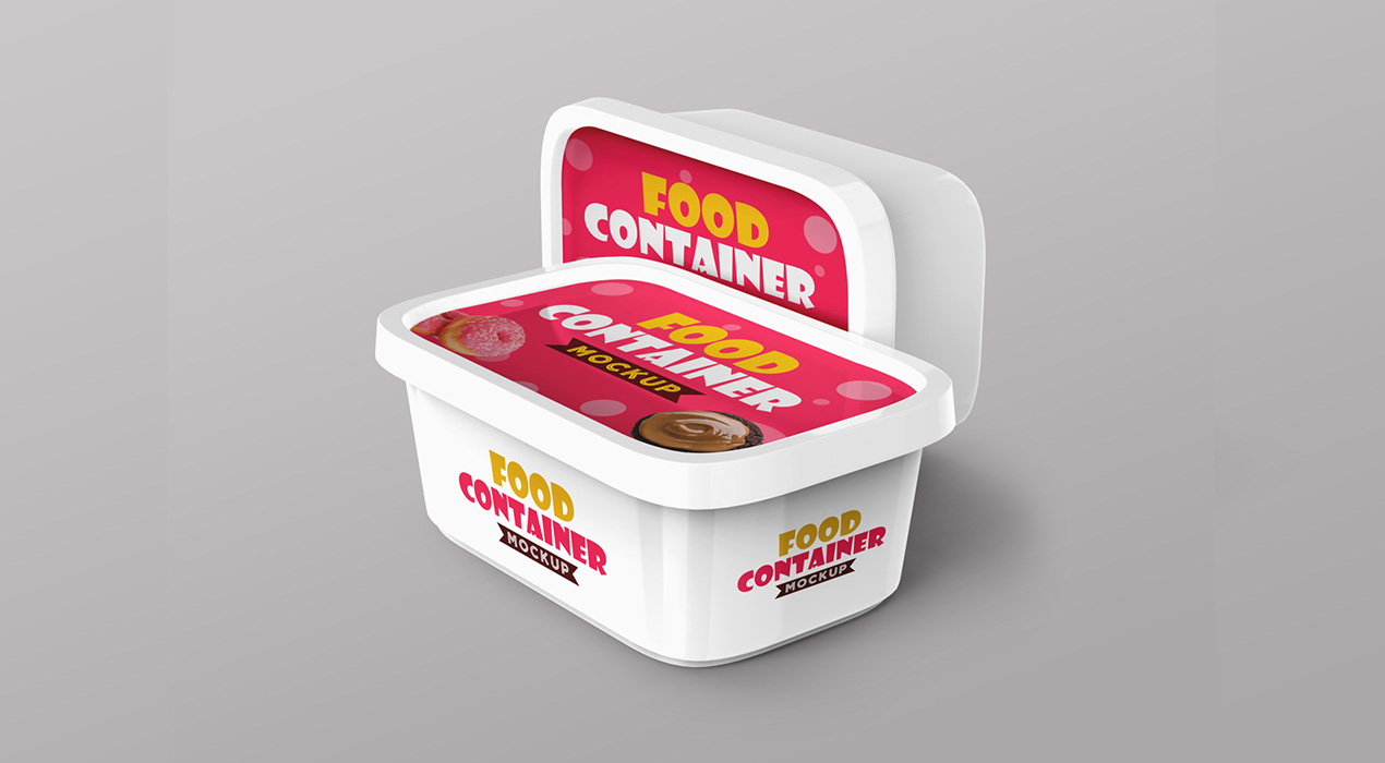 Plastic food Container PSD Mockups
