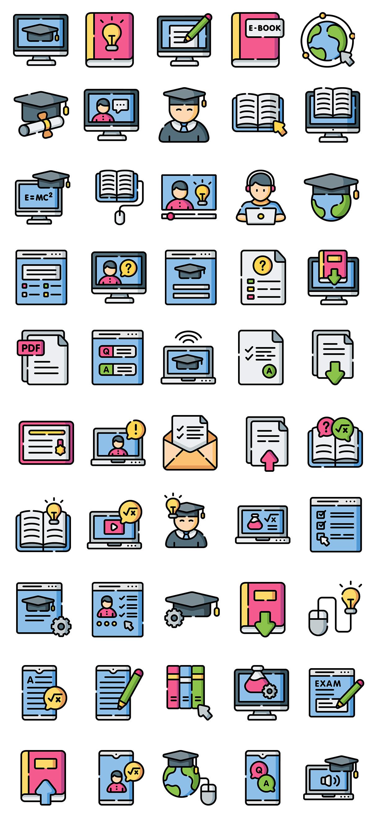 Online Learning Line Color Icons
