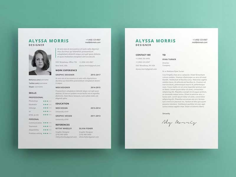 free clean cv template with cover letter in illustrator ai