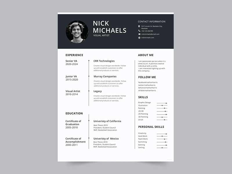 free html 5 resume template