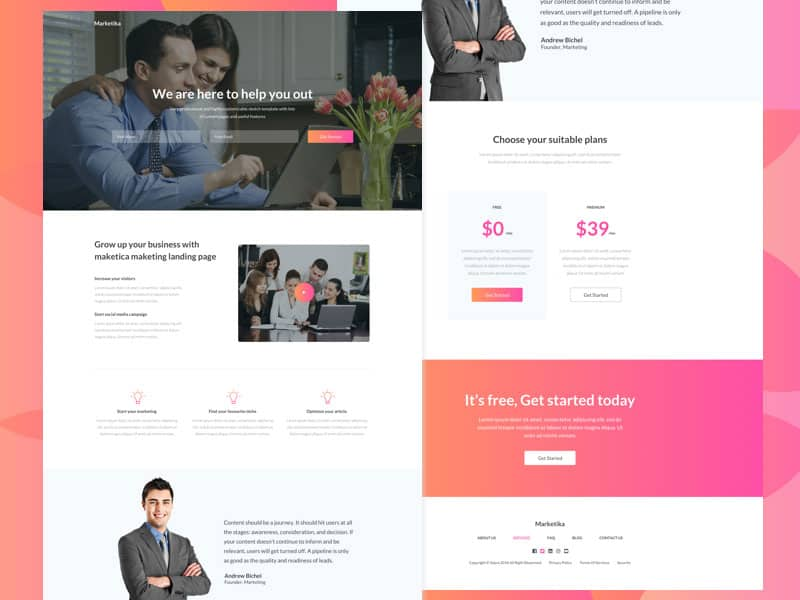 sketch landing page template