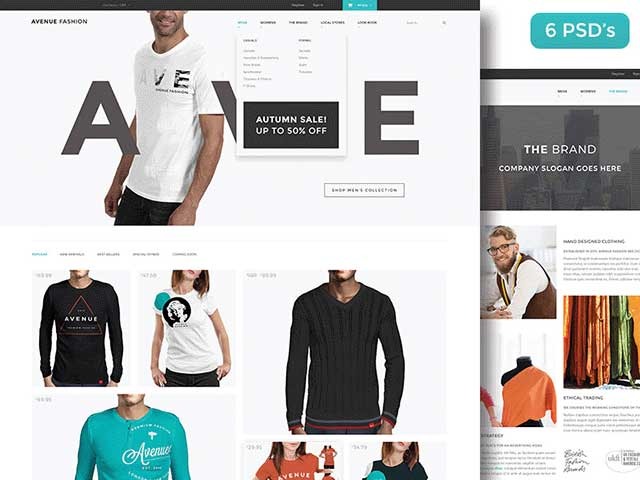 Avenue Fashion Free PSD ecommerce template
