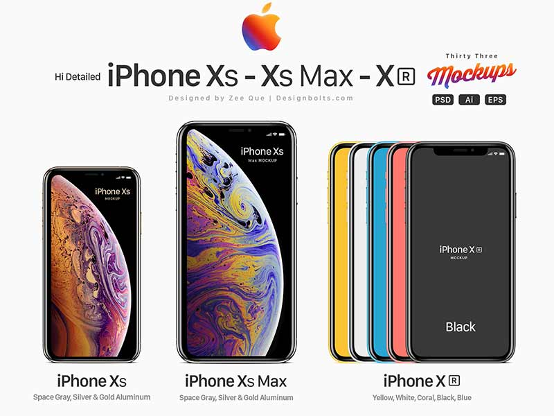 Free Vector Apple iPhone Xs, Xs Max & Xr Mockup Set in PSD, Ai & EPS