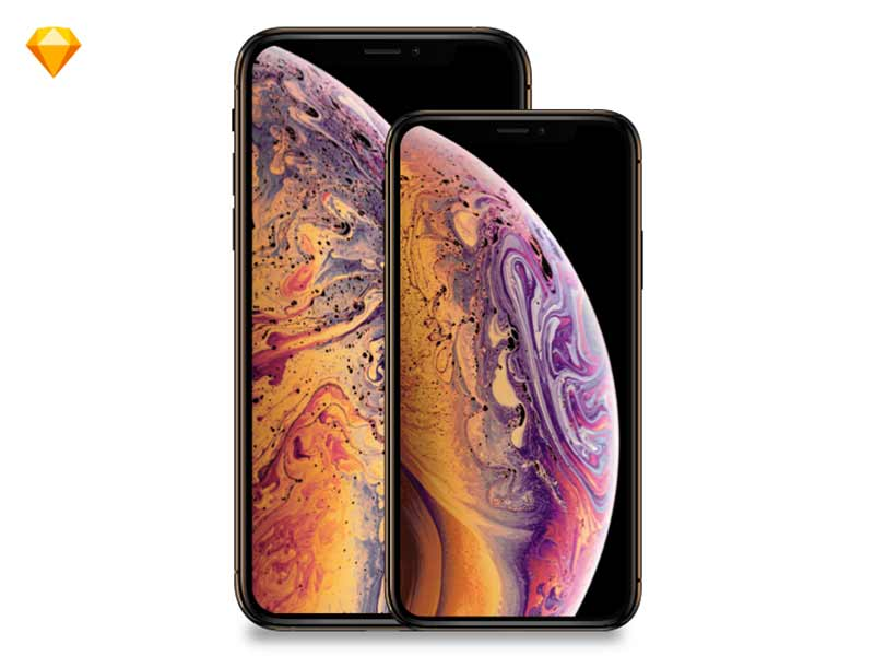 Apple iPhone Xs, iPhoneXsMax MockUp free Sketch