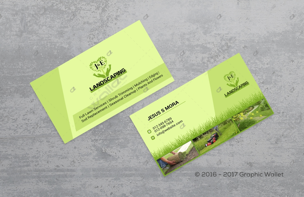 J & E LANDSCAPING - BUSINESS CARD | Graphic Wallet