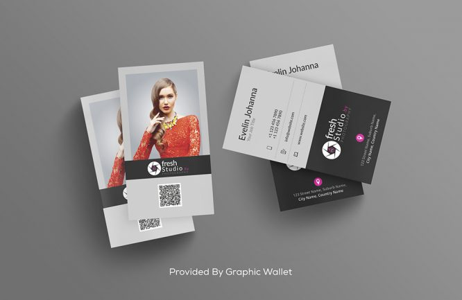 Free PSD Business Card Mockup With Gradient Background