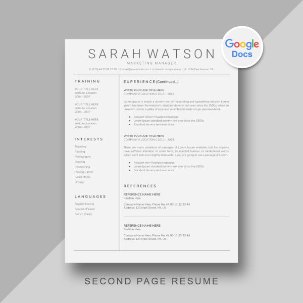 Two page google docs resume