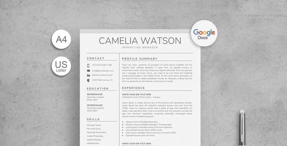 Premium Google Docs Resume Template