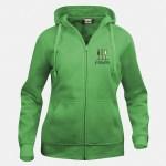 felpa hoody full zip donna verde