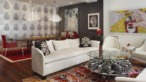interior design with glazed coffee table and great wall art also good rug
