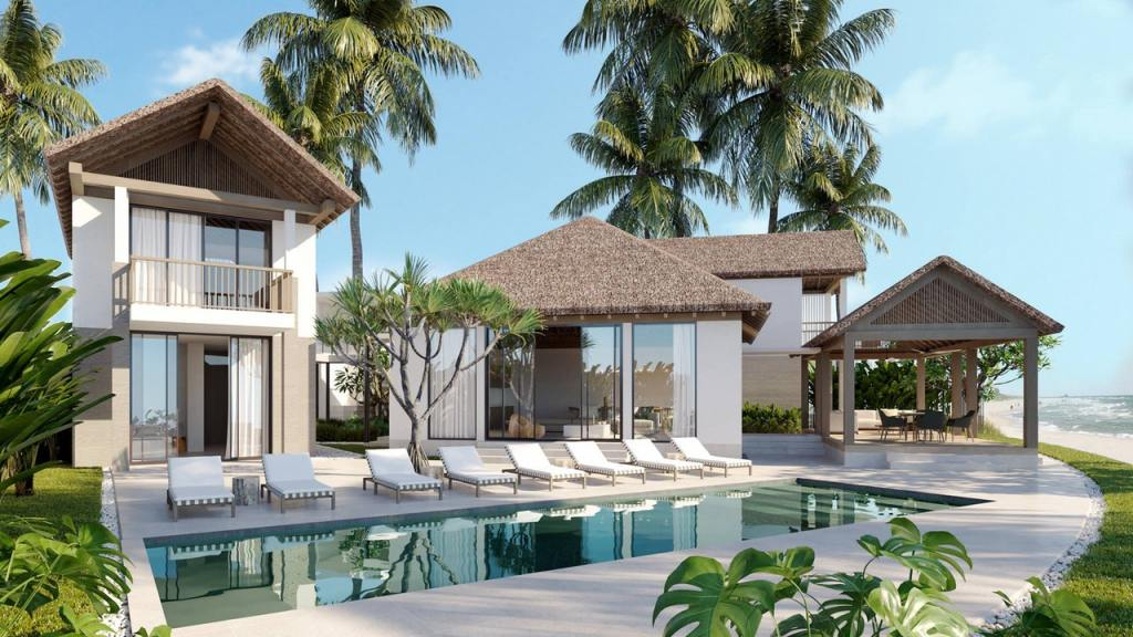 architecture dug out pool family with white pool loungers near tree