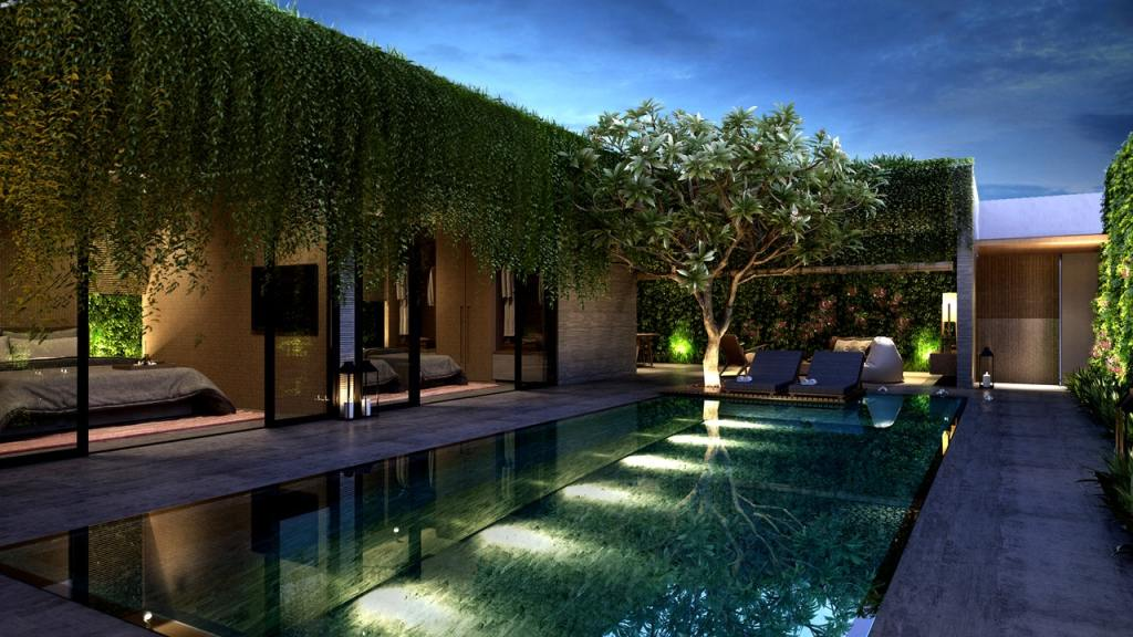 awesome architecture concrete building with pool outside and green leaf tree
