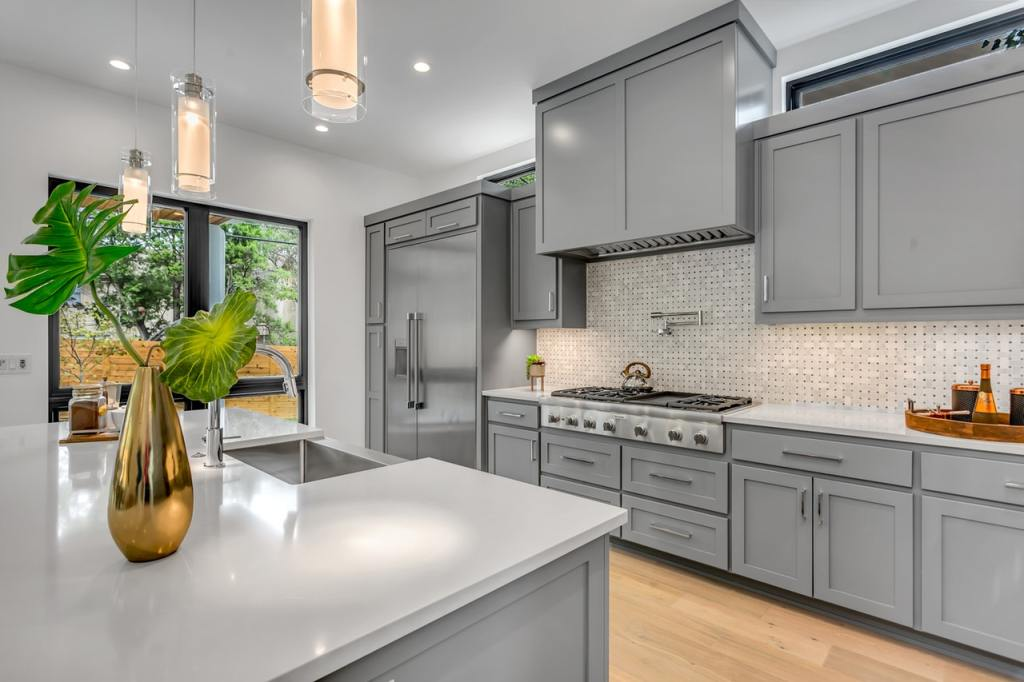 kitchen interior with bright design