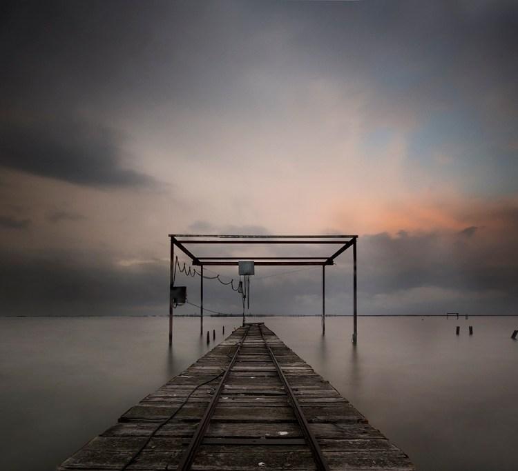 Pose longue, Barque, Nuages, Sombre, Étang de Thau