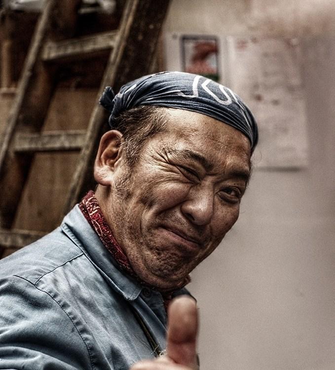 Portrait, Old Man, Tsukiji, Japon, Hat