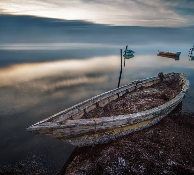 Bateau, Barque, Soleil couchant, Étang, Nuages, Pose longue, Pond, Boat, Clouds, Long exposure, Artfreelance, Boats at sunset