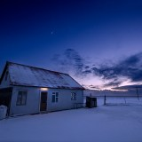 Icelandic home in the evening